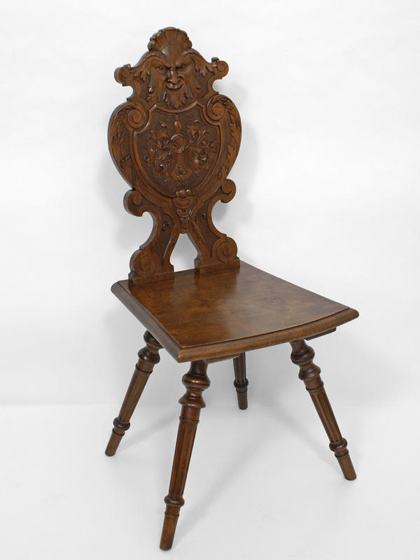 brettstuhl nussbaum massiv wohl schweiz 1898 antiquit ten am markt t bingen. Black Bedroom Furniture Sets. Home Design Ideas