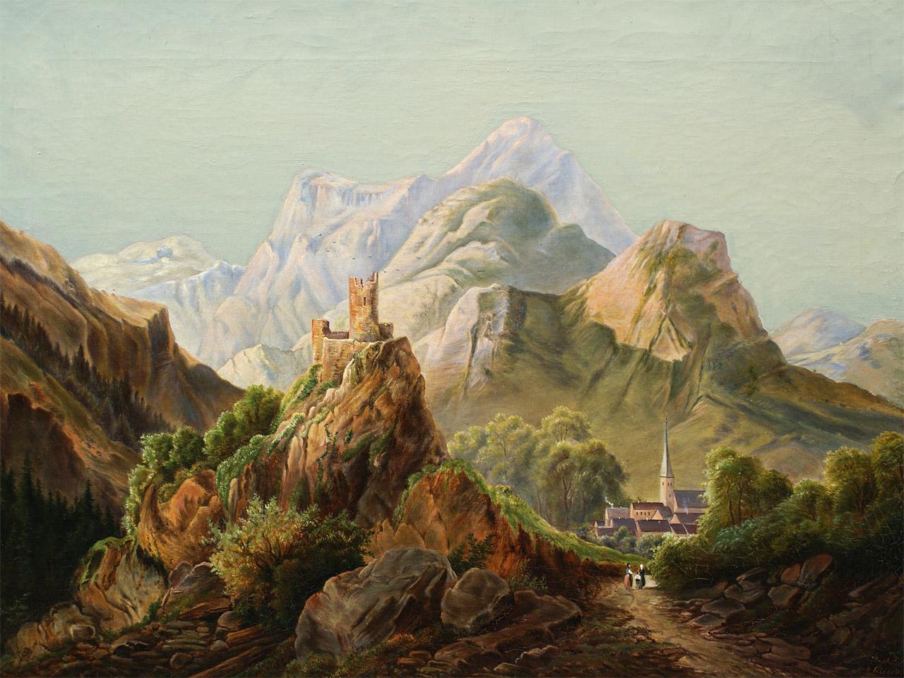 Landschaftsmalerei barock  G 114 Kieser, A.: Landschaftsmalerei, Ölgemälde, 1897 ...